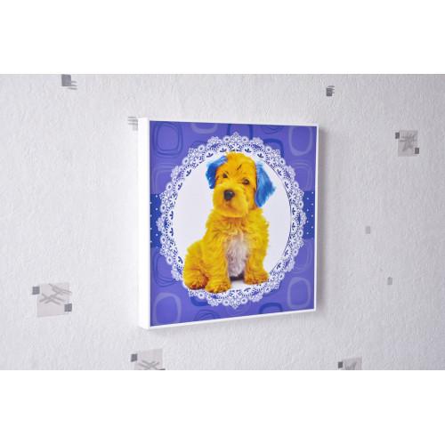 Tableau Chien jaune et bleu 30x30