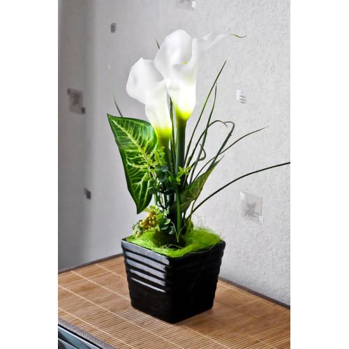 Fleurs artificielles Calla pot noir