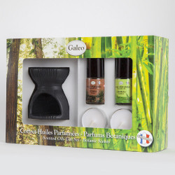 Coffret parfum d'intérieur avec bruleur de parfum céramique et 2 huiles parfumées - Tonka & Bambou