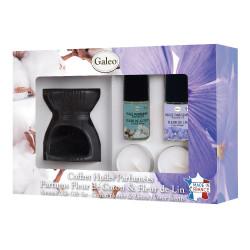 Coffret brule-parfum et huiles parfumées - Fleur de coton & Fleur de lin