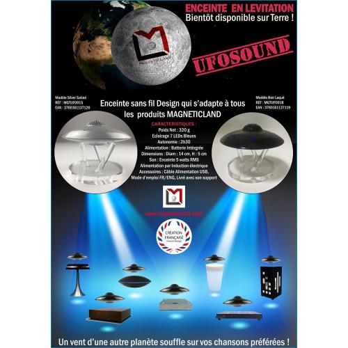 Enceinte Bluetooth en lévitation UFOSOUND Silver Satiné