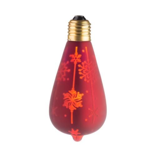 LAMPE DECO ST64 E27 ROUGE ET NEIGE ALLUMEE