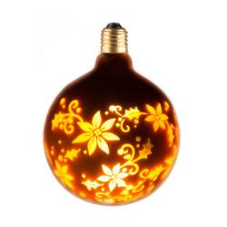 LAMPE DECO G125 E27 DORE FLEUR ALLUMEE