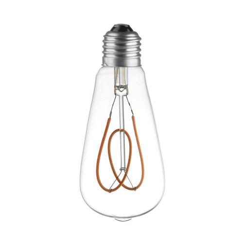 LAMPE ST64 LED FILAMENT SPIRALE FLOWER 4W VERRE CLAIRE ETEINTE