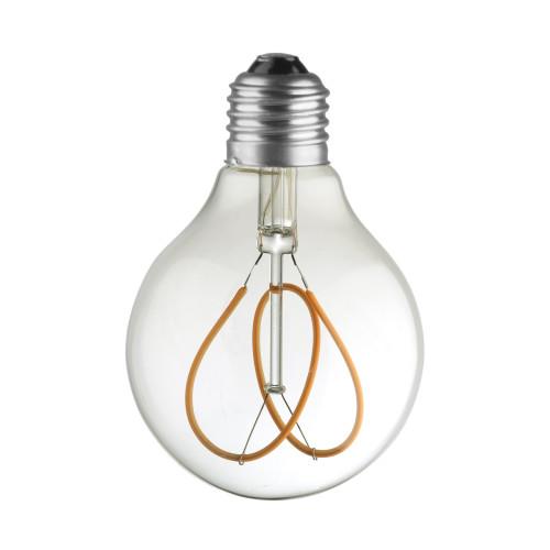 LAMPE G80 LED FILAMENT SPIRALE FLOWER 4W VERRE CLAIRE ETEINTE
