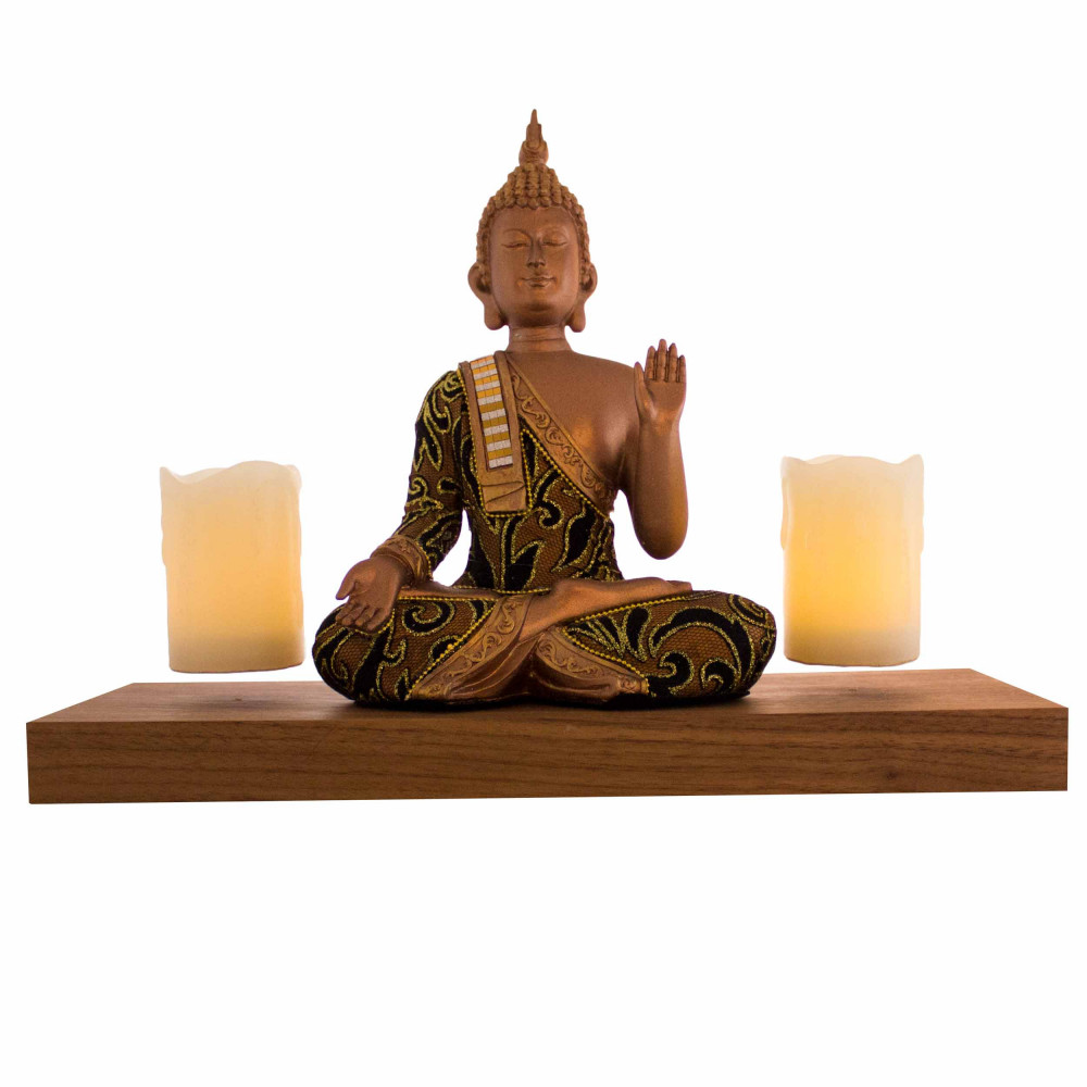 Base bois + 2 bougies LED en lévitation (statuette non incluse)