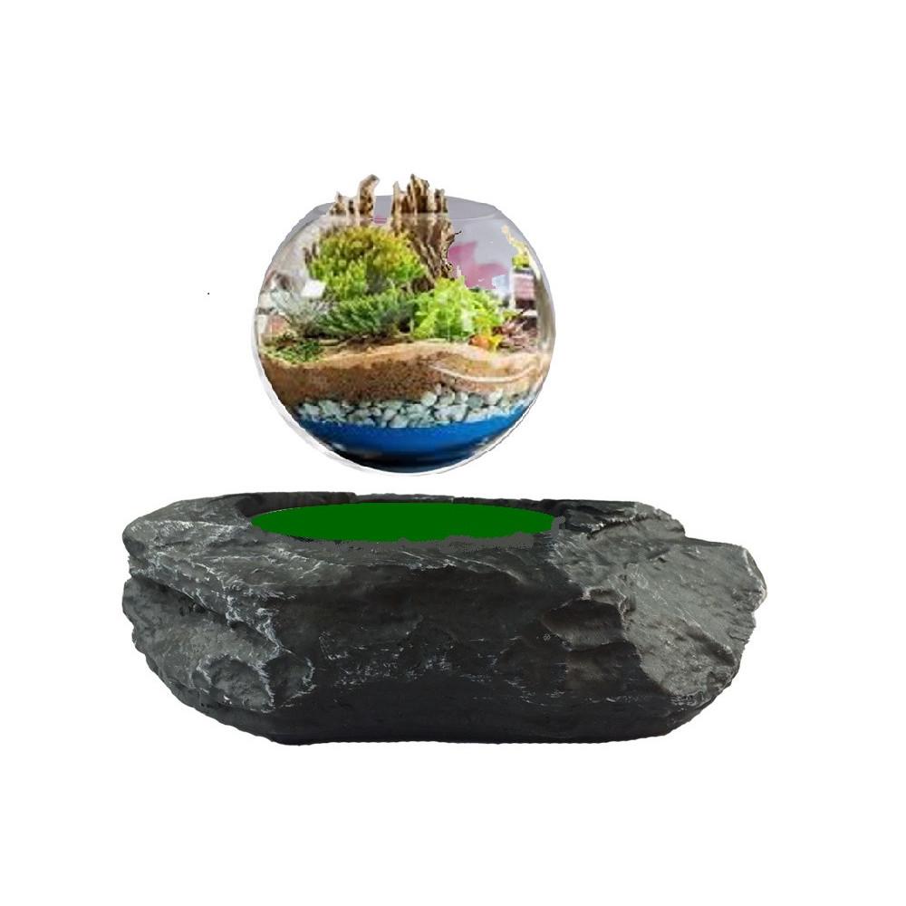 Base électromagnétique Rocher avec Jardin en lévitation