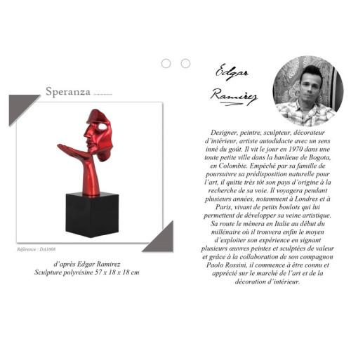 Statue Speranza avec descriptif du l'artiste