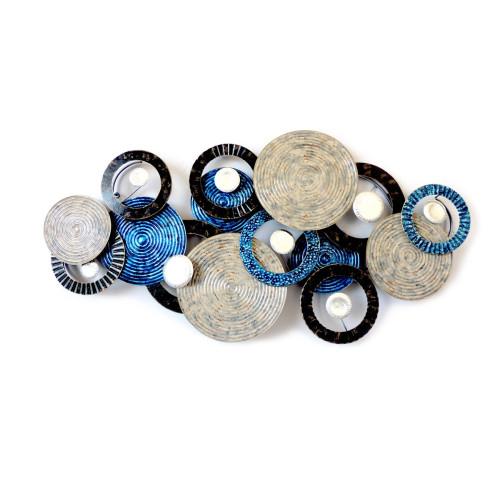 Décoration Murale Disque/Cercles bleu/gris/noir