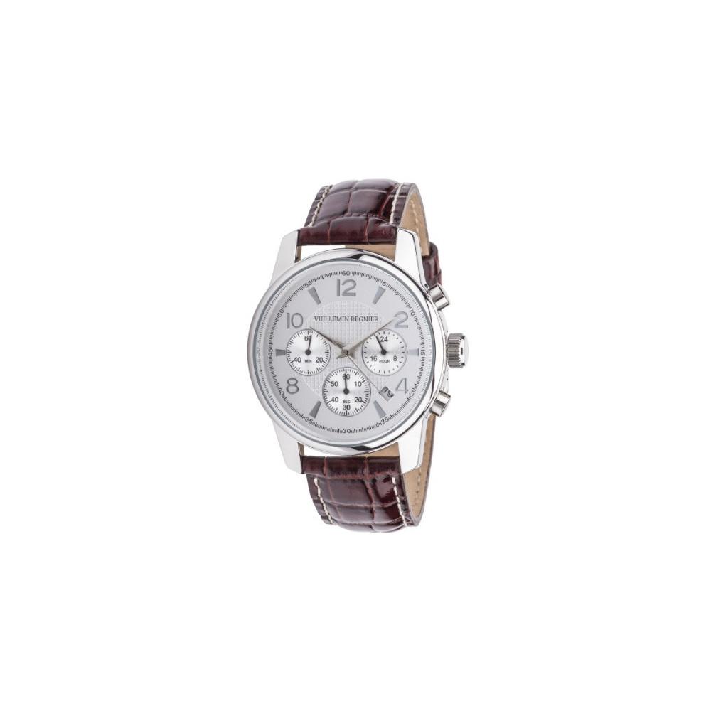 montre chronographe avec bracelet cuir marron