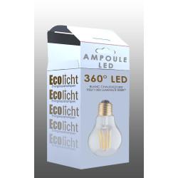 Ampoule A60 E27 filaments droits -boite